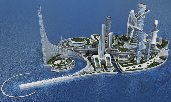 3D futuristic cityscape