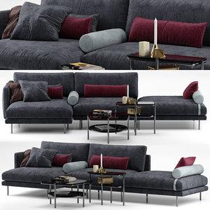 mies sofa - calligaris 3D model