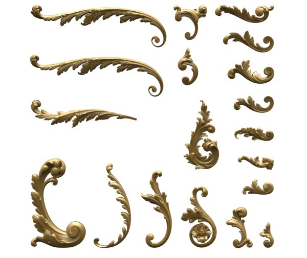 3D acanthus leaves different styles model