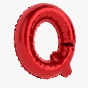 3D model balloon letter q