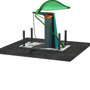 3D model green leaf charging station