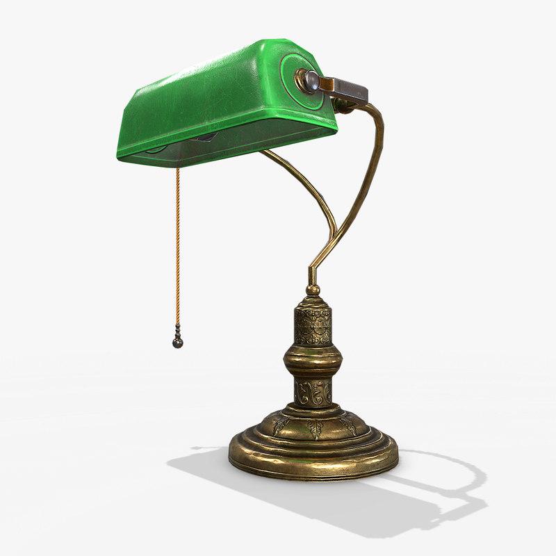 antiquare table lamp pbr model