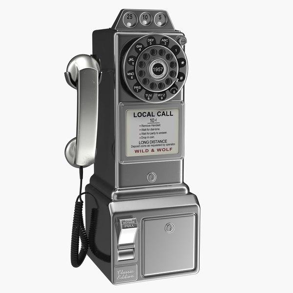 3D steel american diner phone