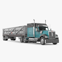 3D model truck w990 lng trailer