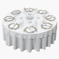 dining served table rounded 3D model