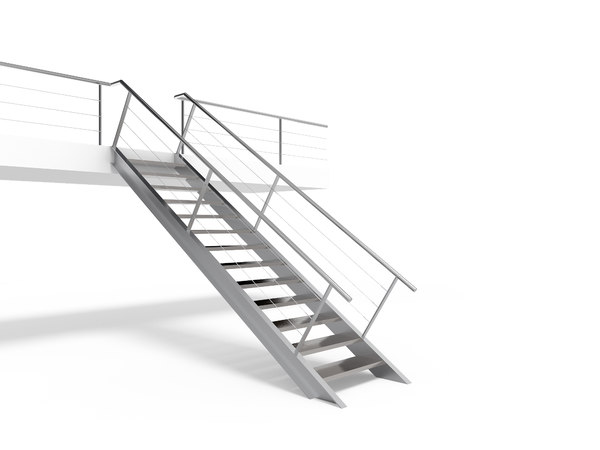 metal stair staircase 3D model