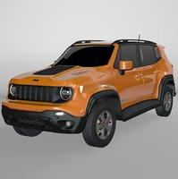 3D jeep renegade orange trailhawk model