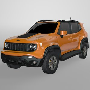 3D jeep renegade orange trailhawk model