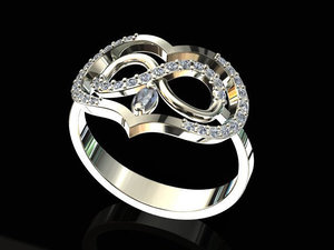 3D engaged jewelry ring model
