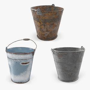 3D model buckets old metal
