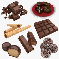 3D model chocolate bon broken