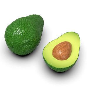 green avocado fruits cut 3D model