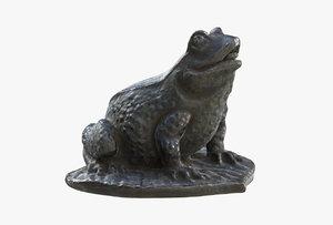 3D frog bronze patina model