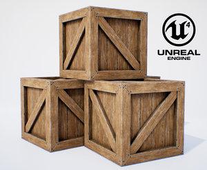 wooden box pbr 3D