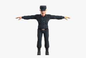 3D policeman man model