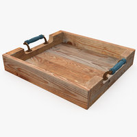 3D realistic wooden tray model