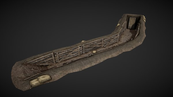 3D model trench wwii