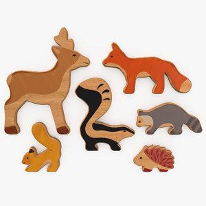 3D wooden animals toy