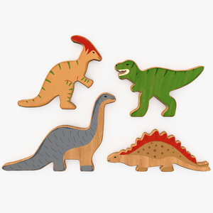 wooden dinos toy 3D model
