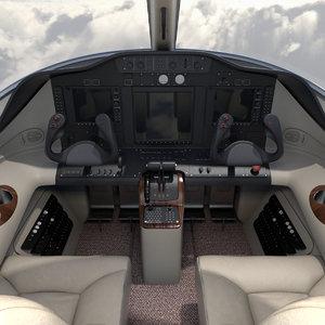 3D model cessna mustang jet cockpit