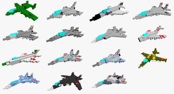 pixelated jet fighters 3D model