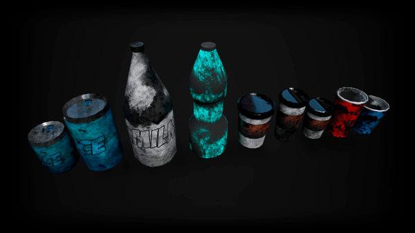 bottles low-poly pbr 3D model