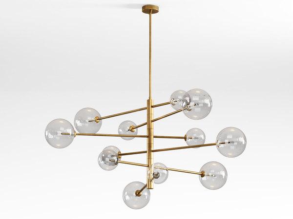 3D argento l pendant lamp model