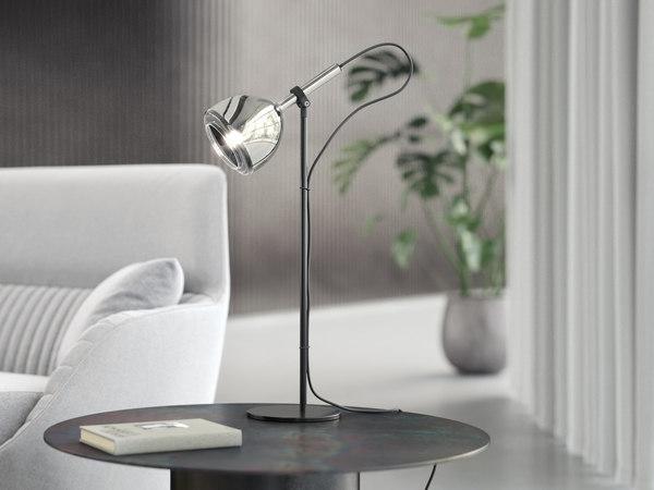 chrome bell table light 3D