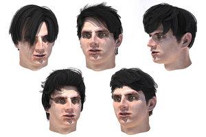 3D men hairstyles 5 model