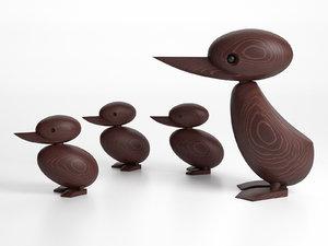 wooden duck duckling 3D model