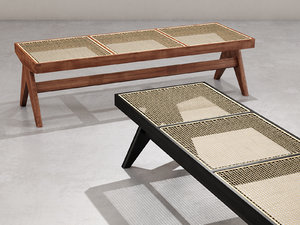 caned bench 3D model