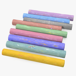 3D coloured playground chalks model