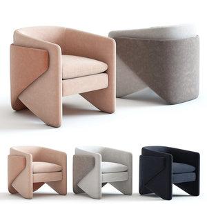 west elm thea chair 3D model