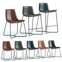 west elm slope leather chair 3D model