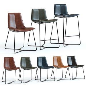 west elm slope leather chair 3D model