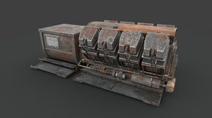 3D rusted machinery device industrial model
