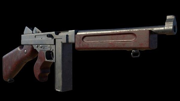 3D submachine gun thompson m1928a1