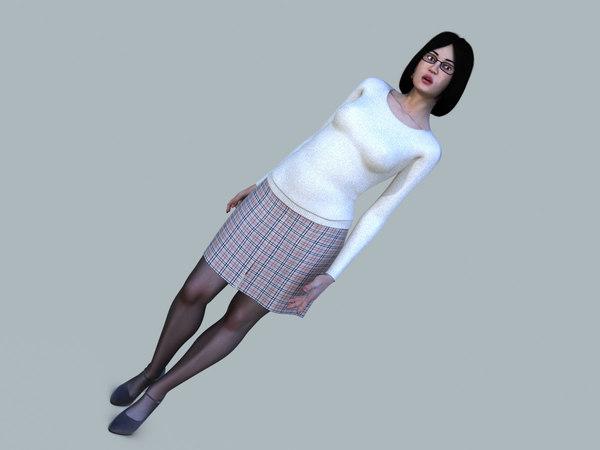 women casual rigging character 3D model