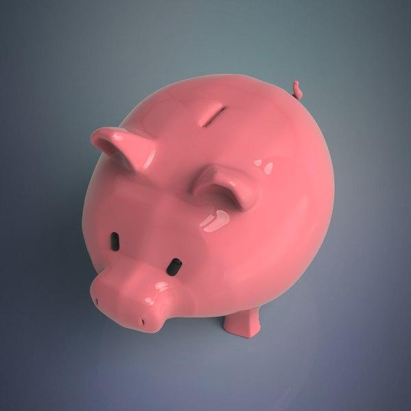3D piggy pig bank