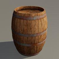 medieval wooden barrel 3D