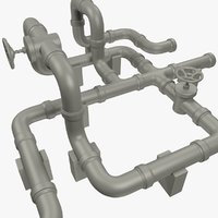 pipe pipeline industrial 3D model