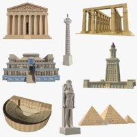 3D ancient buildings parthenon model