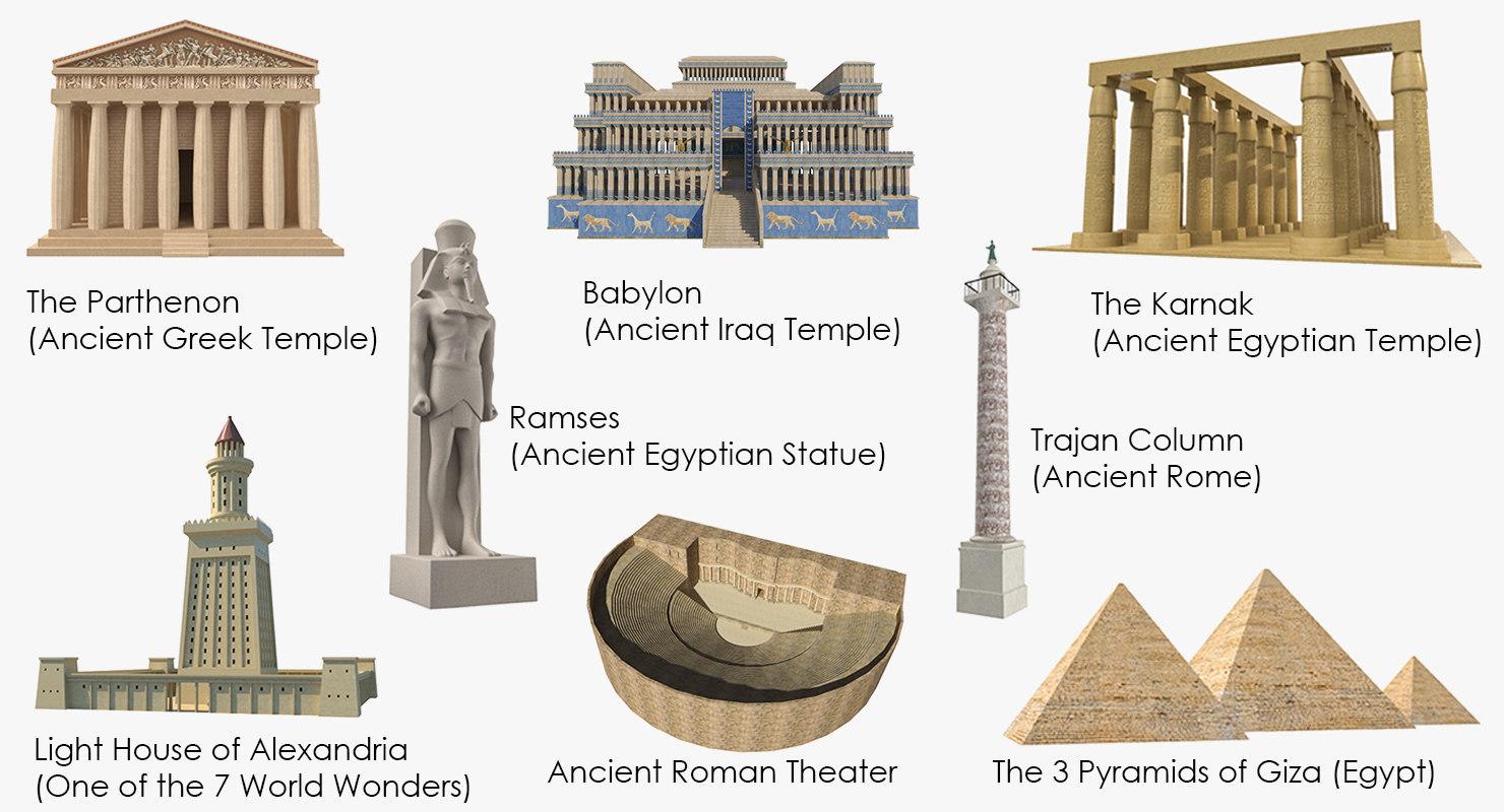 3D ancient buildings parthenon model