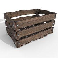 beaten old wooden crate 3D model