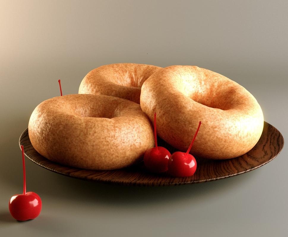 doughnuts cherries baked model