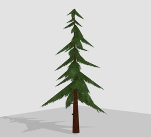3D model hand-painted coniferous tree