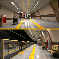 modern subway station 3D model