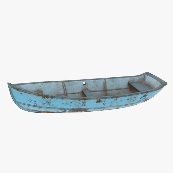 3D rusty metal row boat model