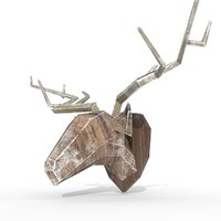 3D wall-mounted wood carved deer model