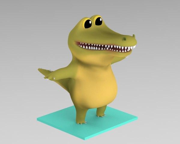 3D crocodile cartoon model